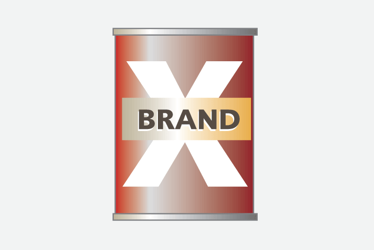 Tin can, representing 'Brand X'