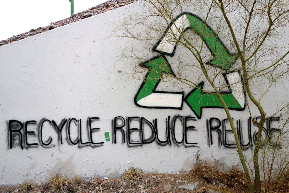 Reduce, re-use, recycle image on wall