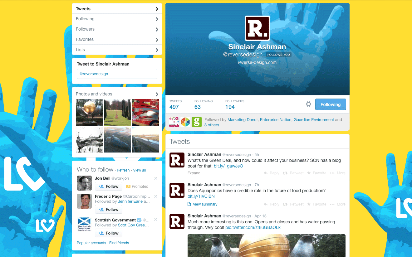 Reverse Design Twitter page
