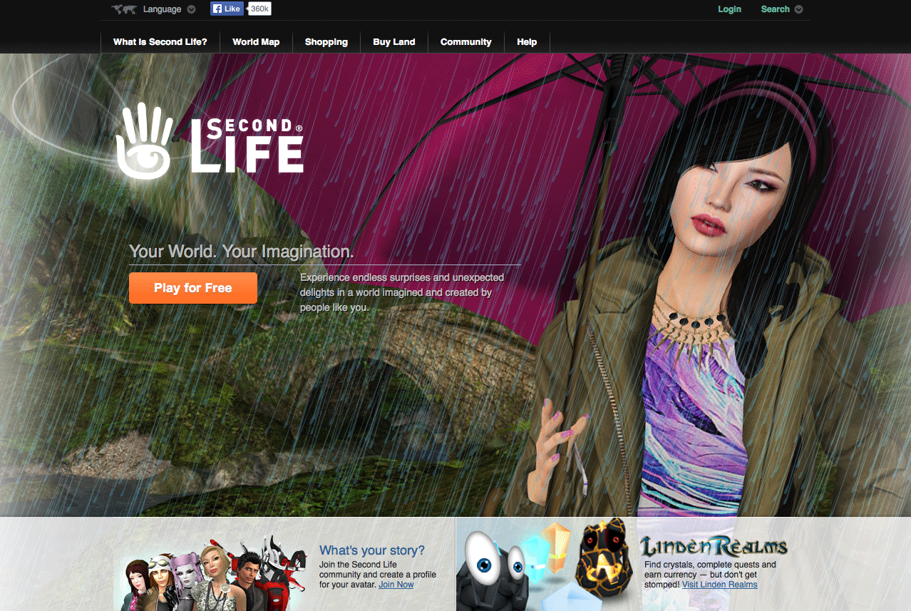 Second Life: home page