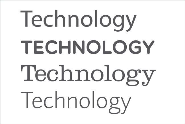 'Technology'. The word written in four different typefaces, to show the effect of font on personality and feel.