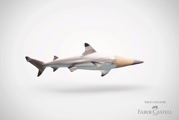 Faber-Castell: 'Shark pencil' print advertising, using illustration